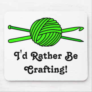 Lime Green Ball of Yarn (Knit & Crochet) Mouse Pad