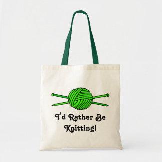 Lime Green Ball of Yarn & Knitting Needles Budget Tote Bag