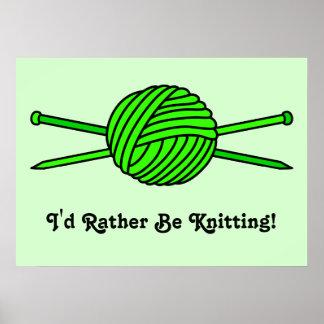 Lime Green Ball of Yarn & Knitting Needles Poster