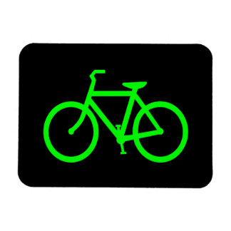 Lime Green Bike Rectangle Magnets