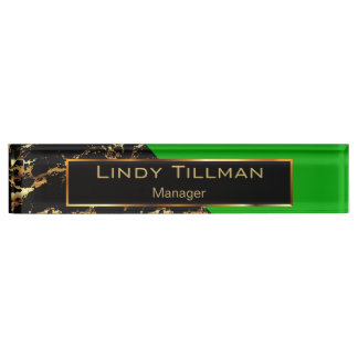 Lime Green, Black and Gold Marble Name Plate