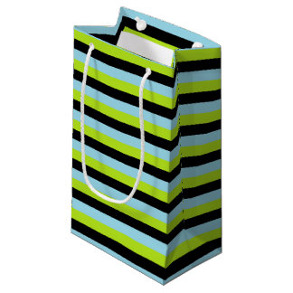 Lime Green, Black and Pastel Blue Stripes Small Gift Bag