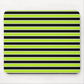 Lime Green, Black and White Stripes Mouse Pad