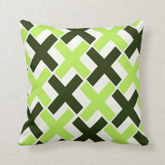 Lime Green,Black and White Xs Cushion