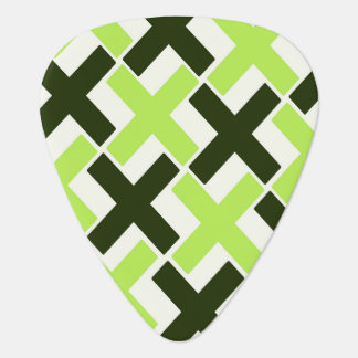Lime Green,Black and White Xs Guitar Pick