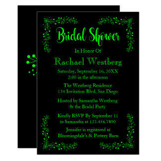 Lime Green & Black Bridal Shower Floral Leaves 13 Cm X 18 Cm Invitation Card