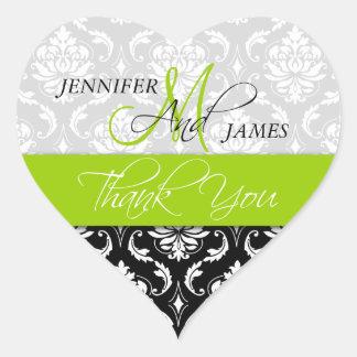 Lime Green Black Damask Wedding Favor Heart Seal Heart Sticker