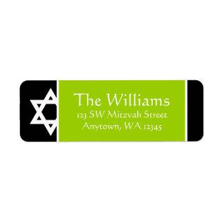 Lime Green Black Star of David Return Address Return Address Label