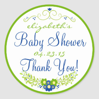Lime Green & Blue Baby Shower- Floral Classic Round Sticker