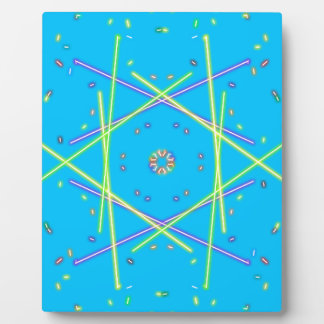 Lime Green Blue Linear Abstract Pattern Plaque