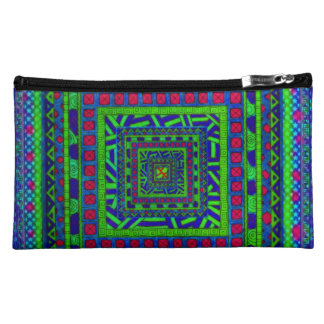 Lime Green Blue Red Aztec Tribal Squares Pattern Makeup Bags