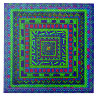 Lime Green Blue Red Aztec Tribal Squares Pattern Large Square Tile
