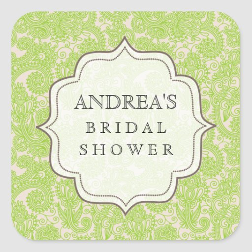 Lime Green Bridal Shower Dessert Table Tag Label Square Stickers