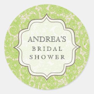 Lime Green Bridal Shower Dessert Table Tag Label Round Sticker