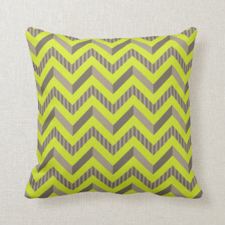 Lime Green & Brown Striped Chevron Pattern Cushion