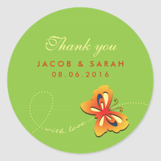 Lime Green Butterfly Wedding Thank You Sticker