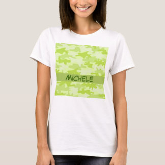 Lime Green Camo Camouflage Name Personalised T-Shirt