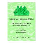Lime Green Castle. 13 Cm X 18 Cm Invitation Card