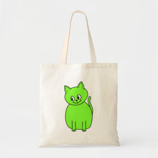 Lime Green Cat. Canvas Bags
