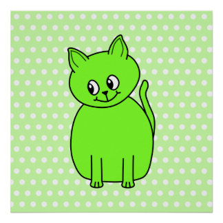Lime Green Cat. Print