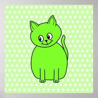 Lime Green Cat Print