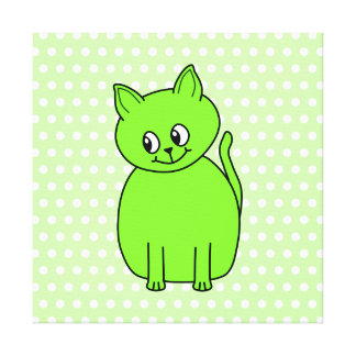 Lime Green Cat Stretched Canvas Prints