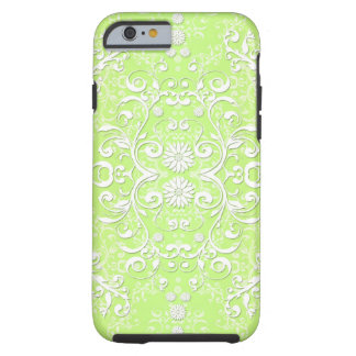Lime Green Chartreuse Floral Damask Tough iPhone 6 Case