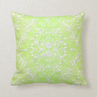 Lime Green Chartreuse Floral Damask Cushion