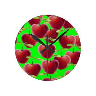 Lime Green Cherry Splash Round Clock