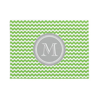 Lime Green Chevron Grey Monogram Doormat