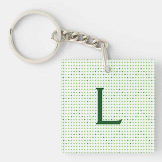Lime, Green Chevron Pattern Dots Monogram KeyChain