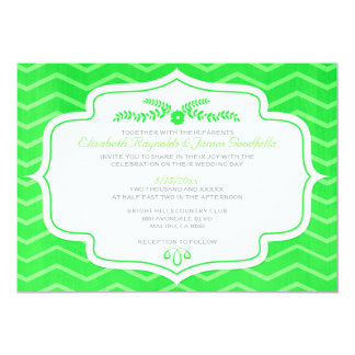 Lime Green Chevron Wedding Invitations