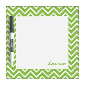 Lime Green Chevrons Dry Erase Board