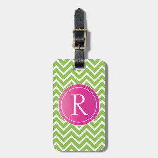 Lime Green Chevrons Luggage Tag