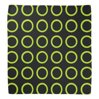 Lime Green Circles Black Bandana