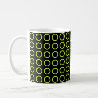 Lime Green Circles Black Coffee Mug