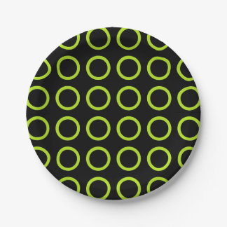 Lime Green Circles Black Paper Plate