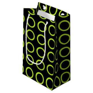 Lime Green Circles Black Small Gift Bag