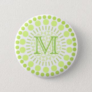 Lime green Circles Customisable Monogram Badge