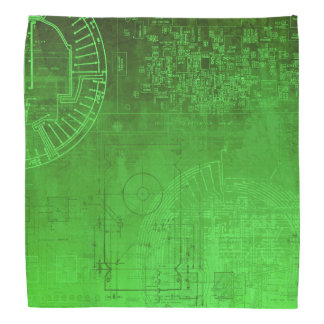 Lime Green Circuit Board computer geek nerd Bandana