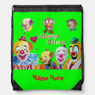 Lime Green Circus Clowns Drawstring Backpack