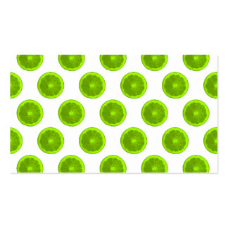 Lime Green Citrus Slice Polka Dots Business Card