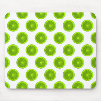 Lime Green Citrus Slice Polka Dots Mouse Pad