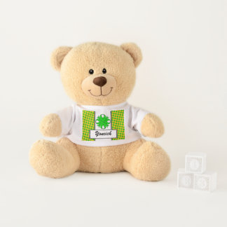 Lime Green Clover Ribbon by Kenneth Yoncich Teddy Bear