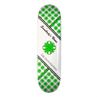 Lime Green Clover Ribbon Custom Skate Board
