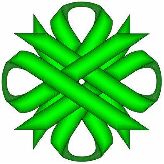 Lime Green Clover Ribbon Photo Sculpture Key Ring