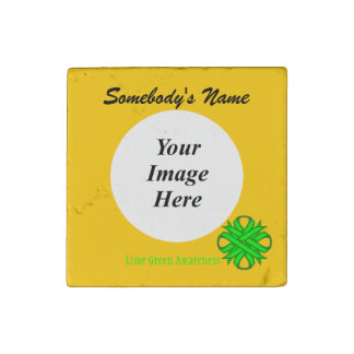 Lime Green Clover Ribbon Template Stone Magnet
