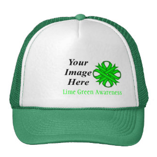 Lime Green Clover Ribbon Template Mesh Hats
