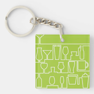 Lime green cocktail party key ring