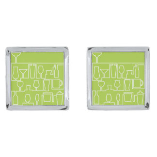 Lime green cocktail party silver finish cufflinks